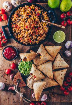... vegan burrito samosas with mexican rice, guacamole salsa ... #vegan