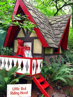 Little Red Riding Hood - photo by Catherine, via Flickr;  Storybook Lane at the Enchanted Forest in Salem, Oregon