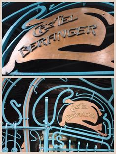 Le Castel Béranger entrance door, 14 rue la Fontaine - Paris, France XVI. Guimard's masterpiece of 1895-98 epitomises art nouveau in Paris.  Green seahorses climb the façade, and the faces on the balconies are thought to be self-portraits, inspired by Japanese figures, to ward off evil spirits.  A must see.