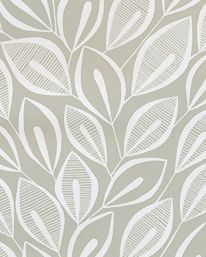 Tapet Leaves Dove Grey With White från MissPrint