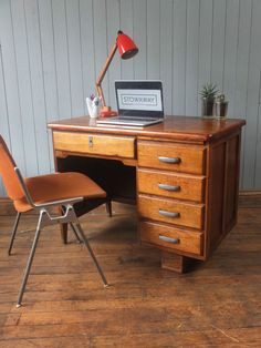 Vintage Mid Century Desk With Aluminium Handles CAN DELIVER