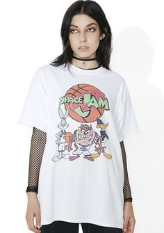 """Tune Squad Graphic Tee will have yew ready to beat the Monstars! This tee features a comfy white construction, round neckline, short sleeves, and a dope graphic on the front of yer fav basketball starz with green """"Space Jam"""" text goin' across a basketball."""