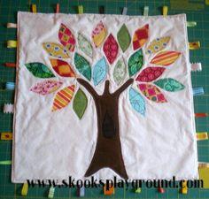 Tree Applique Taggie Blanket by SkooksPlayground, via Flickr