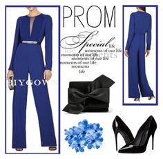 """""""4. BCBG Marcee Mesh Panel Blue Jumpsuit"""" by elma-993 ❤ liked on Polyvore featuring BCBGMAXAZRIA, Victoria Beckham, Dolce&Gabbana, Prom and biygown"""