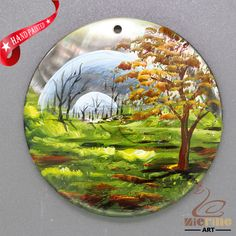 Scenery Tree Hand Painted  Pendant Bag Hanger Black Lip Shell Pendant  ZL303310 #ZL #Pendant