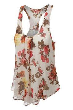 ea32f1d7f19c5 V-neck Flower Print Chiffon Sleeveless Tank Top