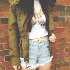 Cropped + fitted pineapple X t shirt from Brandy Melville, light wash high waisted denim cut off shorts, cargo jacket