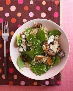 warm quinoa, spinach and shiitake salad with feta