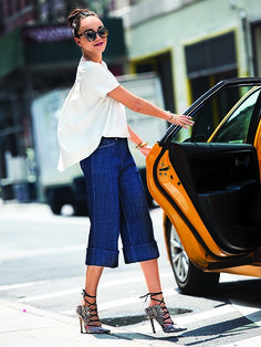 Denim culottes with