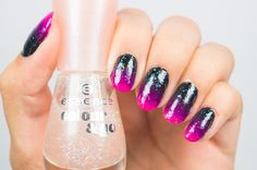 Pink and black gradient topped off with @essence_cosmetics 103 space queen. #essencelove #nagellack #nailpolish #nail #naildesign #sparkles #pink