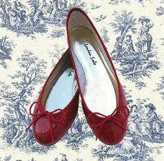 London Sole - Pirouette red croc patent leather ballet flats