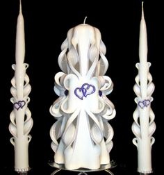 Purple and white HEARTS carved wedding unity candle set - ready to ship - WOW!!!