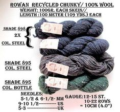KNITTING WOOL/YARN//*4/Skeins of Rowan Recycled Chunky/100% Wool/ 100gr.ea.100m./(109 yards) //On Special!