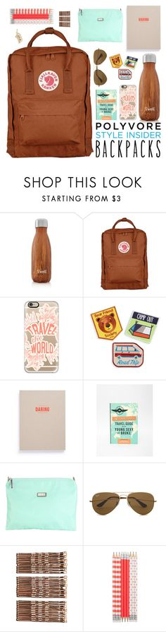 """""""back in the swing of things."""" by tothineownselfbtrue ❤ liked on Polyvore featuring S'well, Fjällräven, Casetify, Mokuyobi, School of Life, Hadaki, Ray-Ban, Monki, Rembrandt Charms and backpacks"""