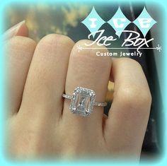 Vintage Engagement Ring 1.9ct Emerald Cut White Topaz 14k White Gold Diamond Halo Setting