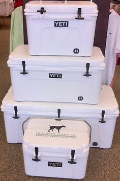 http://www.idecz.com/category/Yeti-Cooler/ Want one of these so bad for camping! Yeti cooler.