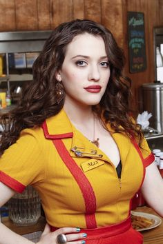 "Still of Kat Dennings in ""2 Broke Girls""- I love her, I love this character, I love this show. I love her as Darcy in Thor (I call Mjolnir Yum-yum"" now,) & if I wasn't already partially there I'd say that I want to BE her. Plus she's super-hot."