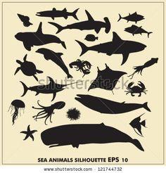 Sea animals silhouette by Zorana Matijasevic, via Shutterstock
