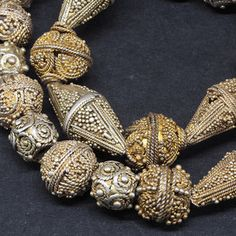 27 Antique granulated gilt silver beads. Mauritania. Tribal, ethnic jewelry