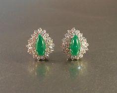 Sterling Jade Earrings Faux Diamond Art Deco by LynnHislopJewels