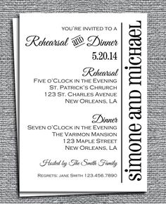 Rehearsal Dinner Invitation Printable - Customized to Your Event - Modern Chic