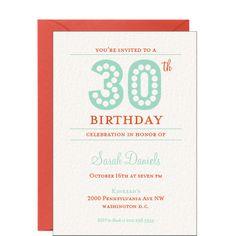 $124.00 for 50 invites - 30th Birthday