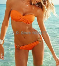 Orange Twist Bandeau Top Cheeky Hipkini Bottom Model 3029 Bikini Set Swimsuit On Sale $11.99