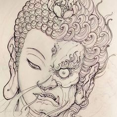 Buddha Fudo sketch for Filler. #chronicink #asiantattoo #asianink #irezumi #tattoo #sketch #illustration #drawing #buddha #fudo