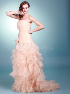 Pearl Pink Satin Trumpet Bride Gown Floor-length with Hand-made Flowers MS41RV574