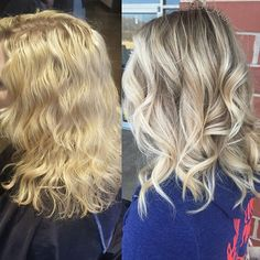 Before and after. Rooty blonde. Akron, Oh stylist. Balayaged ends with dark blonde root