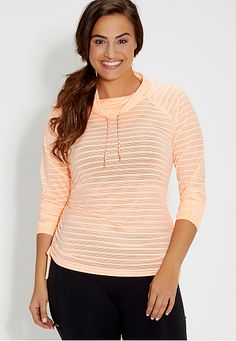 plus size sheer pullover with stripes and cowl neck in apricot haze (original price, $34) available at #Maurices