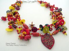 Happiness is a Colorful Glass Two Strand Necklace with by kathkenn, $200.00