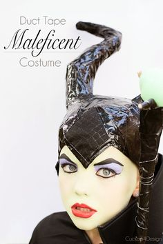DIY Maleficent Costume - all you need is some black duct tape, aluminum foil and plastic bag