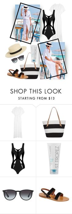 """""""Thoughts of St. Tropez"""" by easy-dressing ❤ liked on Polyvore featuring Norma Kamali, Kim Rogers, MOEVA, St. Tropez, Ray-Ban, K. Jacques, Monki, WhatToWear, polyvoreeditorial and onepieceswimsuit"""