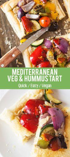 Mediterranean Hummus Tart {Vegan)
