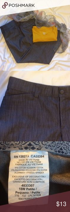 "WOMENS PETITE DENIM TROUSERS Womens Petite Plus Trousers ♦️Size 18 Petite ♦️Color Dark Gray Denim ♦️ Laying Flat Waist 20.5""...Hips 24""...Inseam 29"" ♦️EUC ♦️Comfortable stretchy denim ♦️ Slash front pockets and covered button closure/back pockets makes them excellent for casual Friday at work!  ✅SMOKE/PET FREE ✅USE OFFER BUTTON 🚫TRADES Lee Pants Trousers"