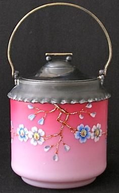 Enameled Pink to White Cased Art Glass Biscuit Jar | eBay