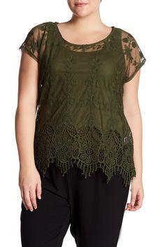 Image of Want & Need Crochet Border Mesh Shirt (Plus Size)