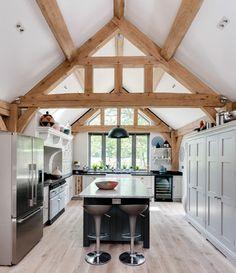 Border Oak - Single Storey kitchen with feature oak framing. Barn Kitchen, Home Decor Kitchen, Kitchen Interior, Home Kitchens, Cottage Extension, House Extension Design, Extension Ideas, Cottage Design, House Design