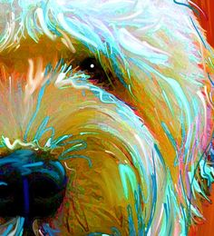 Contemporary Dog Paintings wheaton terrier | Soft Coated Wheaten Terrier Art