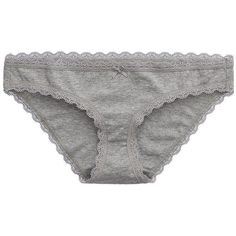 Aerie Bikini ($7.50) ❤ liked on Polyvore featuring intimates, panties, underwear, lingerie, dark heather grey, underwear bikini, bikini panty, lacy panties, lace panty and bow panties