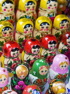 Lithuania, Vilnius, Russian Matryoshka Dolls in Souvenir Market by Gavin Hellier. Photographic print from Art.com.