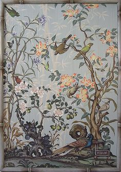 French Blue Floral Chinoiserie, This picture does not do this gorgeous painted panel justice. Chinoiserie Wallpaper, Chinoiserie Chic, Chinese Wallpaper, Wall Wallpaper, Asian Decor, Art For Art Sake, Christian Art, Chinese Art, Japanese Art