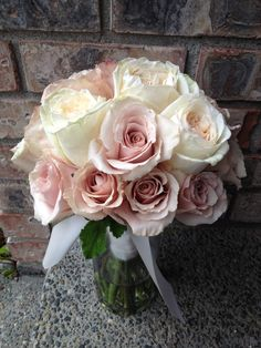 Cream and dusty pink rose bouquet by Jen's Blossoms