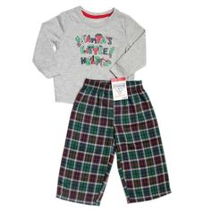 "OshKosh B'Gosh 12M 18M Boys 2-Piece ""Santa's Little Helper"" Plaid Pajama Set NWT #OshKoshBgosh #TwoPiece"