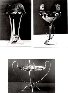 Gustav Gaudernack design for David Andersen, a silver table lamp for electric light with plique-a-jour enamel lampshade and two gilt silver dishes in plique-a-jour enamel with floral and dragonfly pattern for the St. Louis World exhibition collection of David Andersen in 1904. Present localizations unknown.