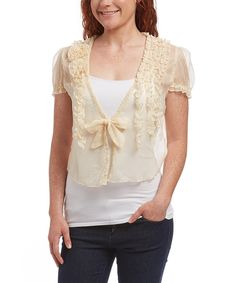Loving this Pretty Angel Caramel Sheer Linen-Blend Bolero on #zulily! #zulilyfinds
