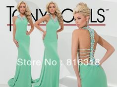 Free Shipping Vestidos Formales Sexy Prom Dresses Mermaid Beautiful Backless Teal Prom Dresses 2014 Long Vestidos De Chiffon