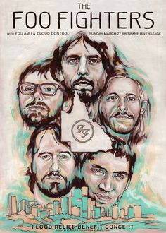Rare Mini Print/Poster - Size: A4 (Approximately: 21 cm x 29.7 cm) 8.27 inches x 11.7 inches. Foo Fighters, Concert Posters, Brisbane, Poster Prints, Mini, Artwork, Work Of Art, Gig Poster