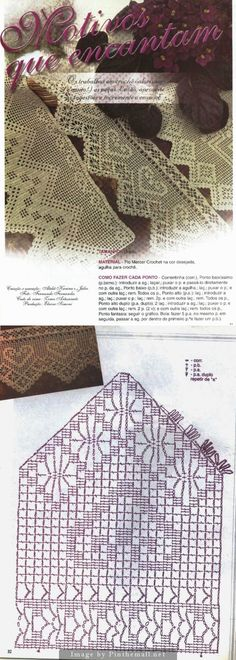 Filet crochet lace edging with interlaced diamond on straight edge, heart & spider points ~~ http://crocheartemanuais.blogspot.com/2013/12/barradinhos_7447.html